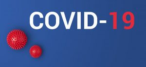 New official Coronavirus name adopted by World Health Organisation is COVID-19. Iinscription COVID-19 on blue background